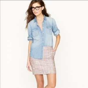 J.Crew Confetti Tweed Mini Skirt w/ Pockets Sz 00